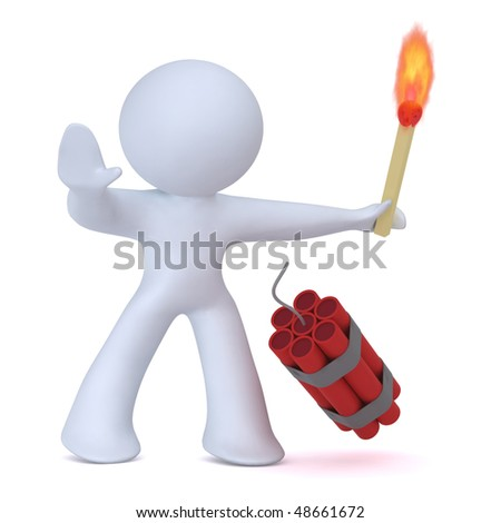 Setting up the explosion - stock photo