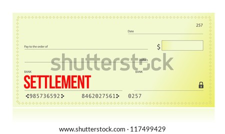 settlement bank check illustration design over white background