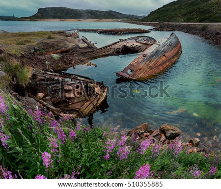 Settlement Teriberka at the Barents sea shore. Murmansk region. Russia.