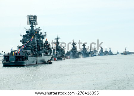 SEVASTOPOL, CRIMEA - MAY 9: Parade of the Russian warships celebrating Victory Day on May 9th, 2014. Russian Navy fleet in the Sevastopol Bay, Crimea - stock photo