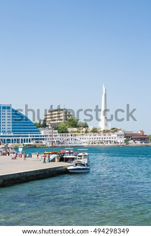 Sevastopol, Crimea, Russia, 21 Jun, 2016. Embankment of the black sea in Sevastopol in the summer