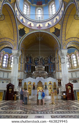 SEVASTOPOL, CRIMEA, RUSSIA - JUNE 24, 2016: Believers in the Cathedral of the Holy Prince Vladimir. The burial vault of Russian admirals. Sevastopol, Russia