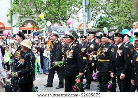 SEVASTOPOL - MAY 9: Russian veteran's parade May 9, 2010 in Sevastopol, Ukraine.