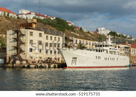 Sevastopol, Russia - June 09, 2016: Large motor yacht Old Captain in the Bay Black Sea.