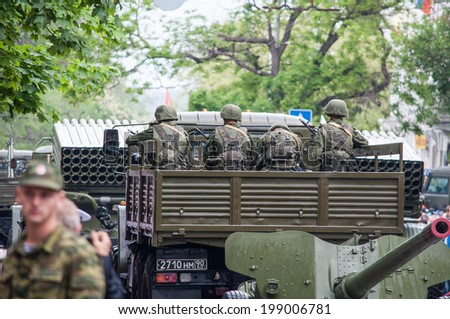 SEVASTOPOL, RUSSIA - MAY 09: Celebrating the 69th anniversary of the Victory Day and 70th anniversary of Sevastopol liberation from fascists. Sevastopol 2014. Parade, soldiers  - stock photo