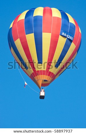 SEVASTOPOL, UKRAINE - AUGUST 12: Balloons flying air over the territory starting in the valley Baydarskaya, International Balloon Festival Montgolfeerie, August 12, 2010 in Sevastopol, Ukraine.