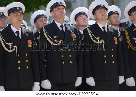 SEVASTOPOL, UKRAINE - MAY 9: Military parade in honor of Victory Day in Sevastopol, Crimea, Ukraine on May 9, 2013 - stock photo