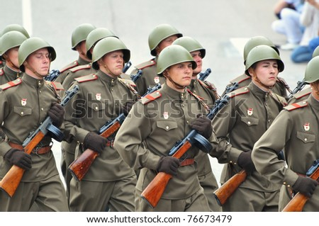 SEVASTOPOL, UKRAINE - MAY 9: Military parade in honor of victory in second world war on May 9, 2010 in Sevastopol, Ukraine