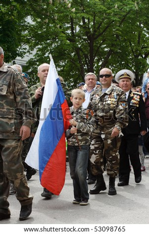 SEVASTOPOL, UKRAINE - MAY 9: Military parade to celebrate World War II Victory Day on May 9, 2010 in Sevastopol, Ukraine