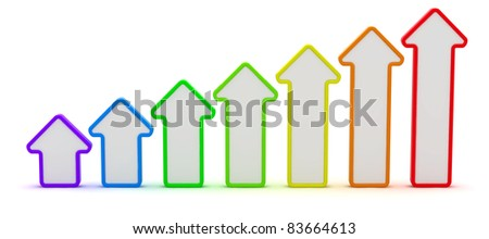 Seven arrows of rainbow colors isolated on the white background