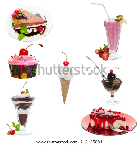 Seven assorted desserts on a white background. - stock photo
