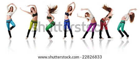 seven beautiful women dancing on white background - stock photo