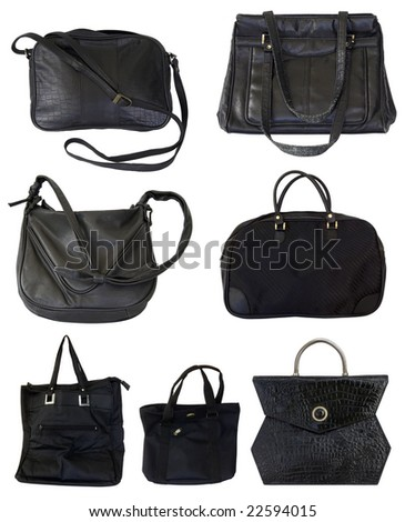 Seven black bags isolated on white background