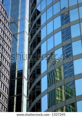 Seven Buildings in Chicago with - stock photo