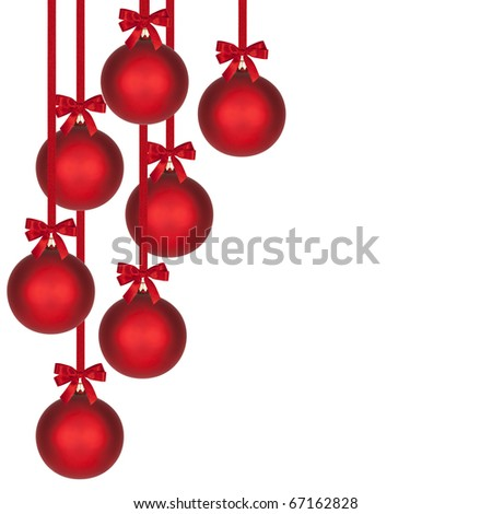 Seven Christmas balls hanging on red ribbons over white.