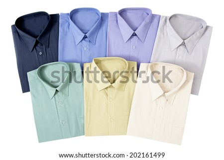 Seven Colorful Men's Shirts Isolated on White Background - stock photo
