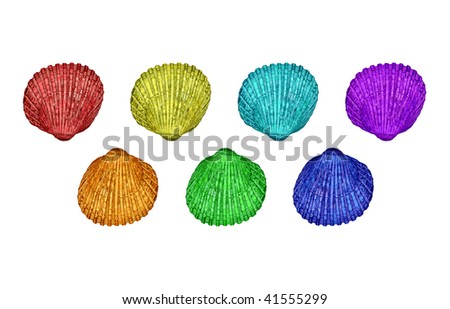 Seven colourful seashells (common cockle shells - Cerastoderma Edule) arranged in two straight lines. The colors of the rainbow - red, orange, yellow, green blue, indigo and violet, are represented. - stock photo