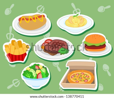 seven cute food stickers with hot dog, hamburger; steak, pizza, salad, fries,and pasta. - stock photo