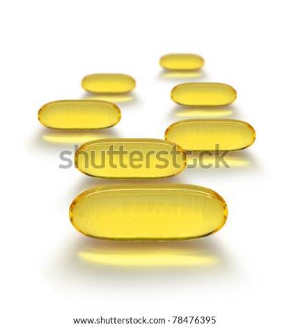 Seven day cure  yellow transparent medicine capsules