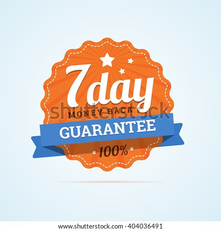 Seven day guarantee money back badge. 7 day mone back label. Paper badge in flat style with ribbon, stroke line, stars and rays.  - stock photo