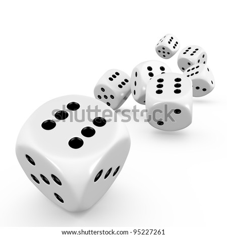 Seven dice on white background - stock photo