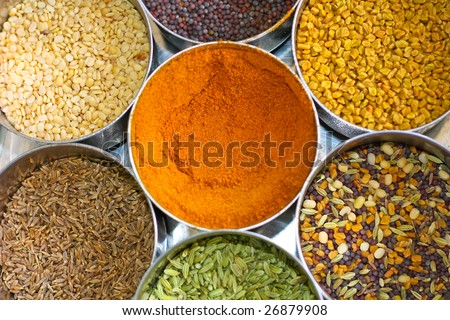 Seven different kind of indian spices placed in separate containers. - stock photo