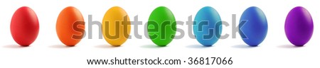 Seven eggs with rainbow color isolated on white background. - stock photo
