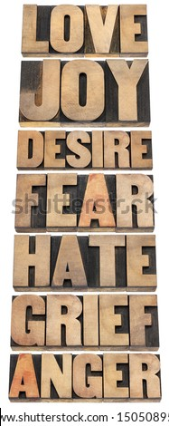 seven emotions - love, joy, desire, fear, hate, grief and anger - a collage of isolated words in letterpress wood type - stock photo
