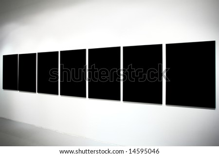 Seven empty black large banners on exposition - stock photo