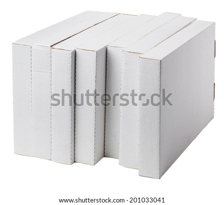 seven flat boxes on white background - stock photo
