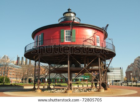 seven foot knoll lighthouse - stock photo