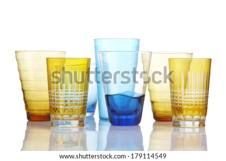 seven glass on white background