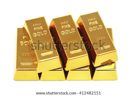 Seven gold bars against a white background - stock photo
