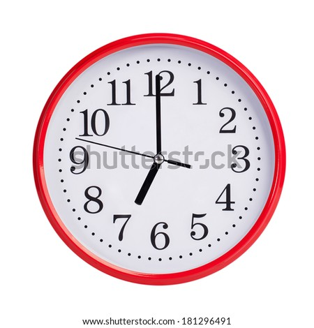 Seven hours on a red round dial - stock photo