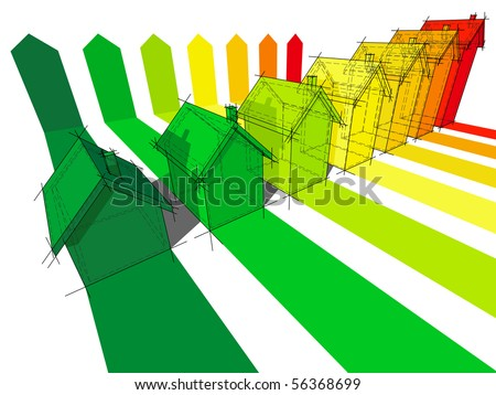 seven houses certified in seven energetic classes (also available as vector) - stock photo