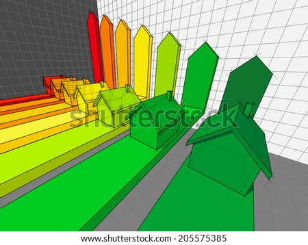 seven houses certified in seven energetic classes in a business diagram  - stock photo