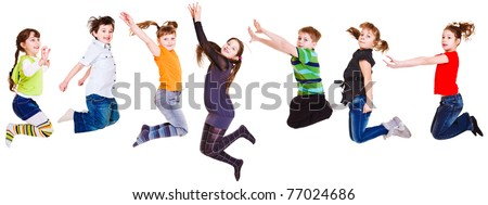 Seven joyful  kids jumping, isolated - stock photo