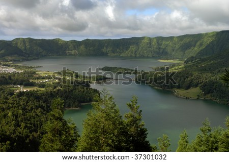 seven lake city at the azores island of sao miguel, portugal