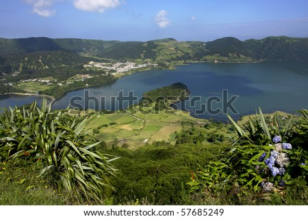 seven lake city at the azores island of sao miguel, portugal - stock photo