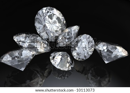 Seven loose diamonds on black reflective surface. - stock photo