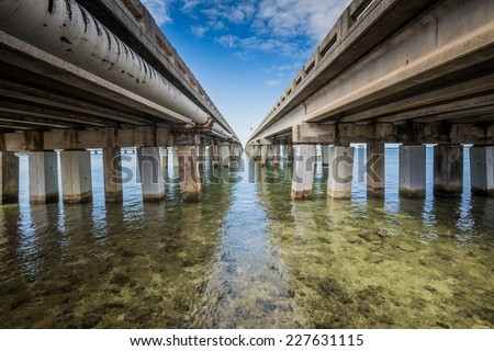 Seven Mile bridge - stock photo