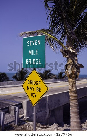 Seven Mile Bridge on the way to Key West - stock photo