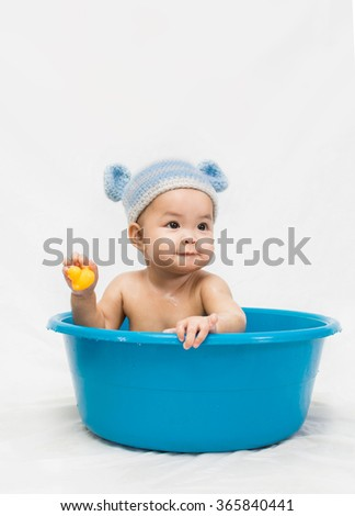 happy laughing baby taking bath playing stock photo 418462189 shutterstock. Black Bedroom Furniture Sets. Home Design Ideas