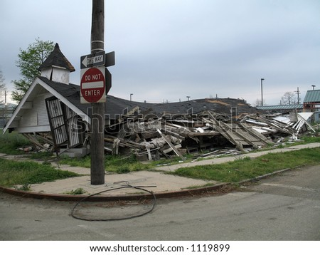seven months post-Katrina, this collapsed church still sits in the deserted Lower Ninth Ward neighborhood of New Orleans - stock photo