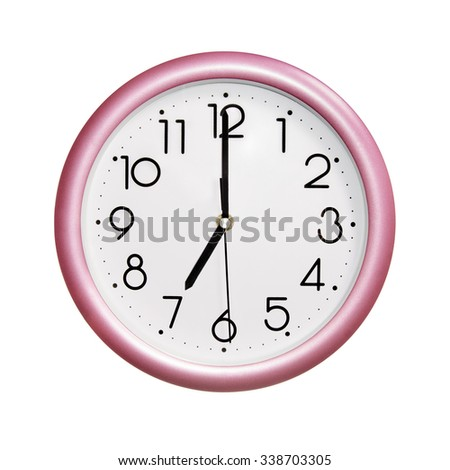 seven o'clock, photo round red-pink clock, on white background, isolated