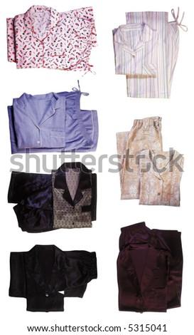 Seven pairs of pajamas - stock photo