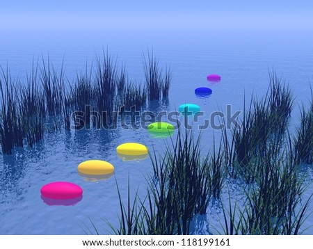 Seven pebbles with chakras colors upon the deep blue ocean and between vegetation, horizon in the background - stock photo