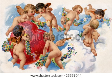 Seven playful angels hovering around a red Valentine heart in the clouds - a circa 1909 vintage illustration - stock photo