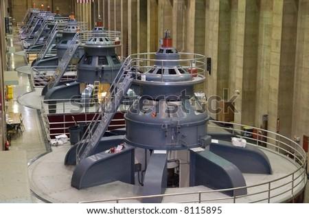 Seven power generators at Hoover Dam - stock photo