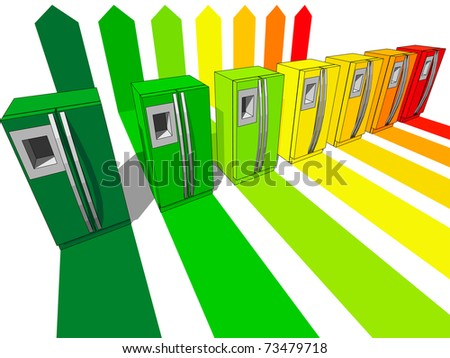 seven refrigerators certified in seven energetic classes - stock photo